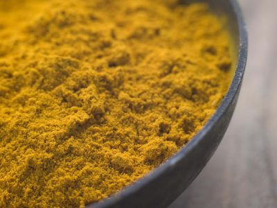 Close up Dish of Ground Dried Turmeric